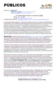 Formulario petición PLC para centros públicos